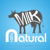 Cow silhouette emblem natural milk background Stock Photos
