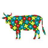 Cow silhouette with floral pattern Stock Image