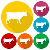 Cow silhouette icons set with long shadow Royalty Free Stock Photos