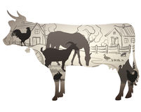 Cow. Silhouette of the cow. inside silhouettes farm and domestic animals, white background vector illustration