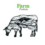 Cow Silhouette Sketch Poster Stock Photo