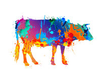 Cow silhouette of splash paint. Cow silhouette of vector watercolor splash paint Stock Photography