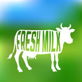 Cow silhouette with text inside about fresh milk Royalty Free Stock Images