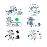 Cow. Six silhouettes with dairy products stock illustration