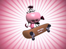Cow on a skateboard Royalty Free Stock Photos