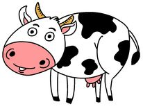 Cow. Sketch of cute Spotted Cow Vector Illustration Stock Photos