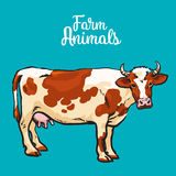 Cow in sketch style, farm animals Royalty Free Stock Photo