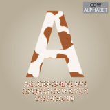 Cow Skin Alphabet and Numbers Vector Stock Images