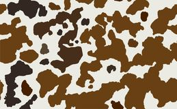Cow skin in brown and white spotted, seamless pattern, animal texture. Stock vector Royalty Free Illustration