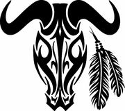 COW SKULL AND FEATHERS Royalty Free Stock Photo