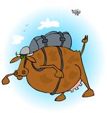 Cow skydiver vector illustration
