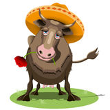 Cow in Sombrero. Illustration Cow in a Sombrero with the Red Poppy stock illustration