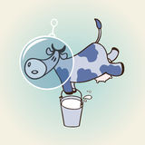 Cow in space. Vector illustration with space cow Stock Photography