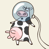 Cow in space. Vector illustration with space cow Stock Photo