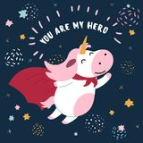Cow in superhero mask and cloak.You are my hero stock illustration