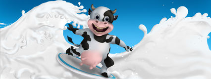 Cow surfs on the milk Royalty Free Stock Photo