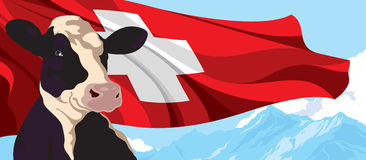 Cow, Swiss flag and mountains. Cow on the background of the Swiss flag and mountains Royalty Free Stock Image