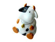 Cow toy. A cow toy for bath isolated on the white close-up view Royalty Free Stock Images