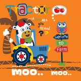 Cow and tractor funny animal cartoon,vector illustration. For t shirt and wallpaper or book stock illustration
