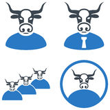 Cow User Flat Icons. Cow User flat vector pictogram set. An isolated icons on a white background Stock Images