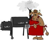 Cow Using A Smoker Stock Images