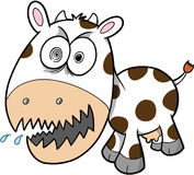 Cow Vector Illustration. Insane Crazy Cow Vector Illustration Royalty Free Stock Photography