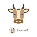Cow vector illustration. Cow head vector illustration in flat design style. Round shaped logo with long shadow included, isolated on white background Royalty Free Stock Photography