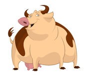 Cow. Vector image of big cartoon funny cow Royalty Free Stock Photo