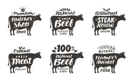 Cow. Vector set food labels, badges and icons. Lettering butcher shop stock illustration