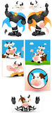 Cow Vectors. Cartoon Comic Cow and Bull Characters for Dairy Products Ads Vector Graphics Royalty Free Stock Photos