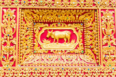 Cow Wall sculpture in Thai temple Stock Photography