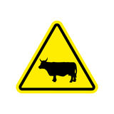 Cow Warning sign yellow. Farm Hazard attention symbol. Danger ro Royalty Free Stock Images