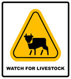 Cow Warning sign yellow. Farm Hazard attention symbol.  Royalty Free Stock Image