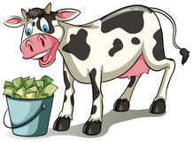 A cow watching the pail. Cow watching the pail full of money on a white background Royalty Free Stock Photography