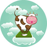 Cow on weighing scales. Vector Illustration Stock Photos