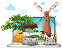 Cow and well on computer screen. Illustration Stock Photography