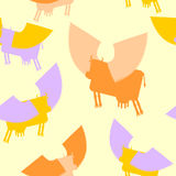 Cow wings seamless pattern. Colored Silhouettes Flying animal. v. Cow wings seamless pattern. Colored Silhouettes Flying animal. background of Fantastic mammal vector illustration