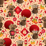 Cow year zodiac Chinese seamless pattern Stock Images