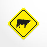 Cow on a yellow background. Vector icon. stock illustration
