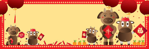 Cow zodiac Chinese banner Royalty Free Stock Images