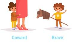 Coward brave Opposite. Antonyms Vector. Cartoon. Isolated art on white background. Flat vector illustration