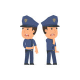 Cowardly Character Officer heard something and very scared Royalty Free Stock Photo