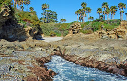 Cowards Cove. Laguna Beach, California. Image shows a small, secluded cove (left center) adjacent and south of Crescent Bay in North Laguna Beach, California Stock Image