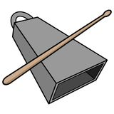 Cowbell and Drumstick Stock Images