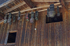 Cowbell. Hanging under a roof royalty free stock photography