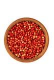 Cowberry σε ένα κεραμικό κύπελλο - απομονωμένο αντικείμενο Στοκ Εικόνα