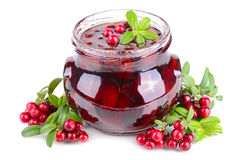 Cowberry jelly in jar Stock Photo