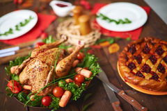 Cowberry pie and fried chicken Royalty Free Stock Image