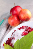 Cowberry, red apples and newspaper Royalty Free Stock Images