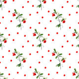 Cowberry seamless pattern. Lingonberry.Watercolor hand drawn illustration.White background Royalty Free Stock Photo